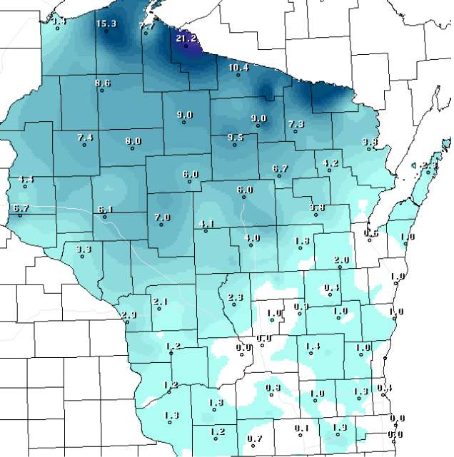 Wisconsin Snow Depth Map
